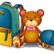 A backpack, a bear and a baseball cap — Stock Vector