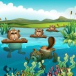 Four beavers playing in the river — Stock Vector