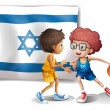 Stock Vector: Boys playing basketball in front of the Israel flag