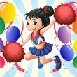 Stock Vector: A cheerleader holding red pompoms with balloons