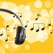 A headset and the musical notes - Stock Vector