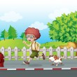A boy running along the road with his pet — Stock Vector