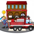Royalty-Free Stock Vector Image: A fireman holding a water hose beside a fire truck