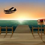 在两个木邮箱与港口的日落 — 图库矢量图片