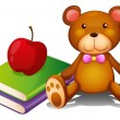 An apple above the books and a huggable bear - Stock Vector