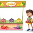 A boy selling fruit juices — Stock Vector