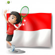 A boy playing tennis in front of the flag of Singapore - Stok Vektör