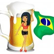 A big mug of beer with a brazilian lady — Stockvektor