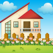 A big house inside the fence — Stock Vector