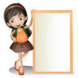Royalty-Free Stock Vektorfiler: A young lady beside an empty signboard