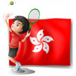 The flag of Hongkong with a tennis player - Stok Vektör