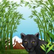 A black panther at the bamboo forest - Stock Vector