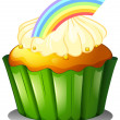Stock Vector: A cupcake with rainbow