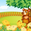 A bear standing near the flowers — Stock Vector