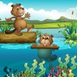 Two beavers at the deep river — Stock Vector