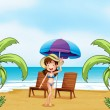 A lady at the beach with coconut trees — Stock Vector