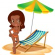 A tan lady at the beach — Stock Vector