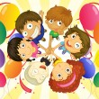 Stock Vector: Kids in a party
