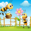 Two big bees in garden — Stock Vector #22317445