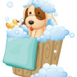 A dog inside a pail full of bubbles — Stock Vector
