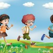 Kids running at the hills - Stock Vector