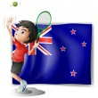 Stock Vector: A young tennis player in front of the New Zealand flag