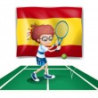 A boy playing tennis in front of the flag of Spain - Stok Vektör