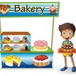 Постер, плакат: A boy selling cakes