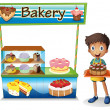 Stock Vector: Boy selling cakes