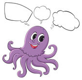 A violet octopus thinking — Stock Vector