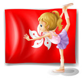 A ballet performer in front of the flag of Hongkong — Stock Vector