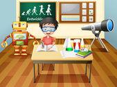 Un niño dentro de un laboratorio de ciencias — Vector de stock