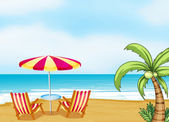 The beach with an umbrella and chairs — Stock Vector