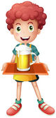 A young boy with a mug full of cold beer — Stock Vector