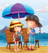 Two kids at the beach near the wooden chairs — Stock Vector