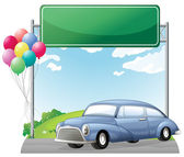 A car and balloons with an empty signboard — Stock Vector