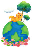 A tiger at the top of a globe — Stock Vector