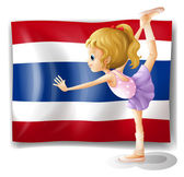 A ballet dancer in front of the Thailand flag — Stock Vector