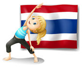 A girl with the flag of Thailand — Stock Vector