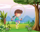 Spocony młoda dziewczyna gra na wzgórzach — Wektor stockowy