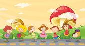 Kinder spielen auf der straße — Stockvektor