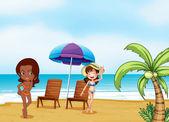 Two ladies wearing bikini's at the beach — Stock Vector