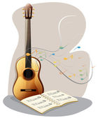 A guitar with a musical book — Stock Vector