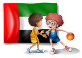 The flag of UAE at the back of the basketball players — Stock Vector