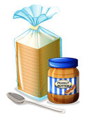 A bread with a peanut butter and a spoon — Stock Vector