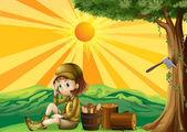 Kıyılmış ormanın oturan bir kız — Stok Vektör