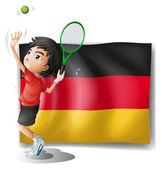 A boy playing tennis in front of a flag — Stock Vector