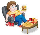 Un ragazzo grasso mangiando — Vettoriale Stock