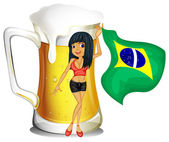 A big mug of beer with a brazilian lady — Stock Vector
