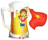 A girl holding the flag of Vietnam in front of a big mug of beer — Stock Vector